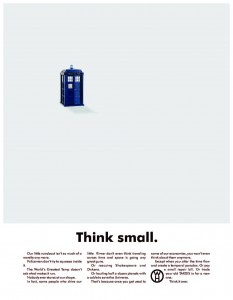 "Parody ad, riffing on the famous Volkswagen ""Think Small"" ad"